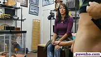 Amateur brunette woman with big breasts gives a...