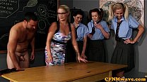 Watch CFNM sex education from the teacher for eager girls preview