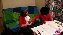 Young schoolgirl bangs a dude in her living roo...
