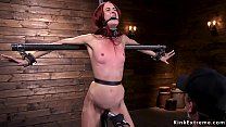 Watch Skinny small tittied redhead slut Andie Rye in pile driver bondage gets anal fucked with dick_on a stick then blindfolded pussy vibrated preview