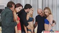 three slim college girls enjoying a sex party