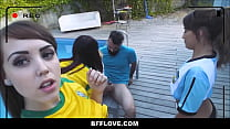 Young Athletic Spanish Girls Blondie Fesser, Lucia Nieto and Zoe doll Fuck Coach's Thumb