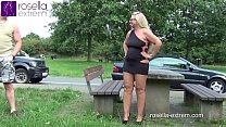 German slut, swallows outdoor, from every cock,...