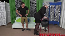 Naughty granny makes young guy hard's Thumb