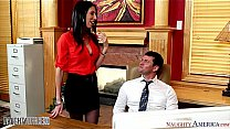 Busty brunette Dava Foxx gets pussy licked in the office's Thumb