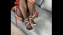 sexy sandals red lace thong and nylon tease only