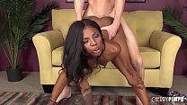 Lucky white guy pounding ebony teen's Thumb