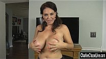 Charge Chase gets kinky and puts on a puffy jacket and drops to her knees to suck a hard cock. Exclusive fetish video from CharleeChaseLive.com's Thumb