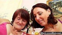 Hairy grandma toyed by busty mature lesbian