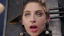 Hairy pussy hot brunette babe Abella Danger tied up then in bondage seat fucks machine's Thumb