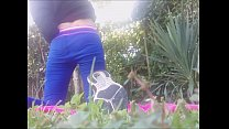 outdoor pee and masturbation in a park