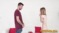 Petite blondie teen rides cock and gets little ...