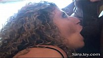 BBC slut Sara Jay gets her wet pussy fucked and filled with a hung black guys cum! Exclusive cream pie video from SaraJay.com's Thumb