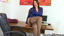 British milf Raven gets creamy for her dildo Thumbnail