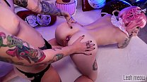 Young lesbian cosplay fuck with strapon pussy c...