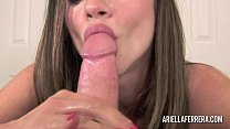 Big tit brunette pornstar sucking a cock and sw...