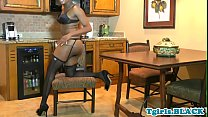 Watch Highheeled ebony tgirl gaping and jerking off preview