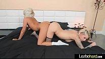 Horny sexy lesbians Pressley Carter & Blake Carter enjoy double pink dildo on cam