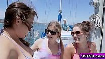 Watch Blair Williams,Zoey and Vienna take their tops off and start seducing Captain Dick! preview