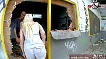 spanish petite blonde milf make a open air porn