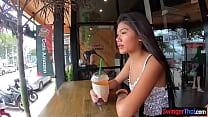 Thai teen girlfriend sucks and rides his big co...