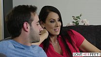 MILF Raegan Foxx Gets Foot Fucked By Stepson On The Sofa