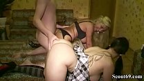 German Mom Catch Huge Dick StepSon with his 18yr old girlfriend and teach the couple to Fuck in Threesome صورة