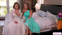 Sexy brunette freaks out because her wedding wi...