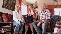 Watch He finds her fucking with his old mom and dad preview