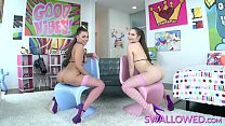 Watch Two brunette sluts take turns gagging on a_big cock until he fills their mouths with cum preview
