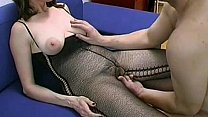 Busty and hairy amateur Milf blowjob, titjob wi...