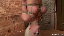 Busty blonde slave Cherry Torn gets crotch rope...
