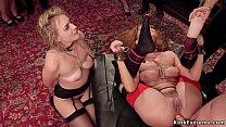 Brunette slave Roxanne Rae and blonde slave Kei...
