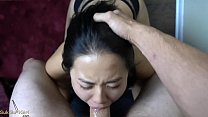EXTREME DEEPTHROAT fill her chinese mouth up with CUM!