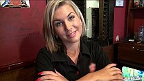 Gorgeous blonde bartender is talked into having...
