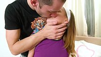 Horny teen sneaks her boyfriend in to her bedro...