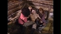 """Scene from russian porn movie """"neulovimie msiteli"""". Awesome threesome 1 blonde boy with 3 girls (busty blonde, sly brunnette and teen-like redhead in glasses). He cook on fire, they thank him Thumbnail"""
