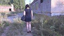 A girl with a beautiful butt in a public dressi...