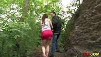 German girl gets facialed outdoor