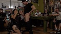 Green haired European slave Lola disgraced and shamed by mistress Fetish Liza and master John Strong in Budapest streets Thumbnail