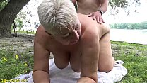 busty 69 year old bbw mom gets rough fucked by her young toyboy in public nature Thumbnail