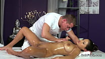 Brunette with big natural tits gets massage Thumbnail