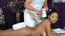 Brunette with big natural tits gets massage
