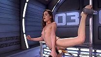 Flexible brunette beauty taking fucking machine in wet and squirting pussy solo Thumbnail