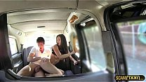 Horny lovers is having fun in the backseat of the taxi's Thumb