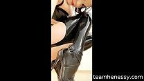 Henessy in sexy heels and latex stocking gives ...