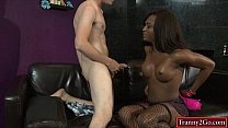 Watch Busty ebony tranny Chanel Couture sucked by and fucks a guy preview