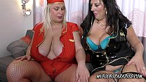 Big tits two mature woman in uniform play with ...