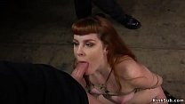 Watch Redhead slave trainee barbary rose gets throat banged by huge dick while other master whipping her back then_in rope bondage rough fucked - aquapussy gets fucked from the back by tofer part 1 preview
