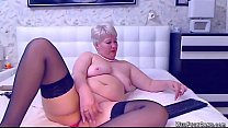 Fat blonde amateur mature lady in black stockin...